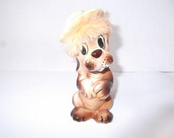 Vintage Begging Hound Dog with fur hair and hat. Empress Japan