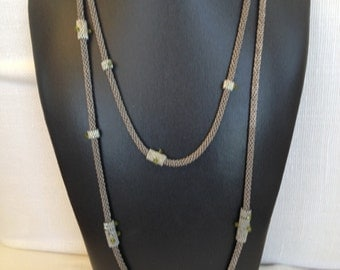 Beautiful long thin necklace with tiny crystals