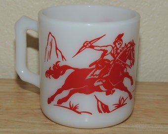 Hazel Atlas Cowboy and Indians Kiddie Mug 1950s