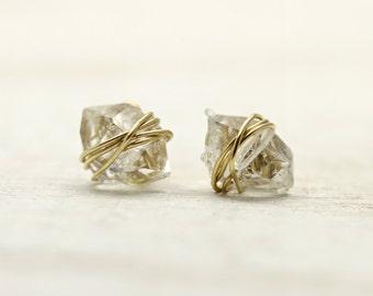 Gold wrapped mini herkimer diamond stud earrings