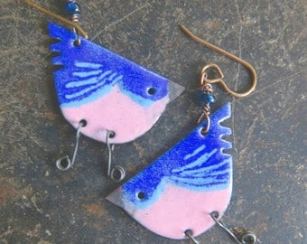 Bluebird rustic enamel quirky, swallow, chickadee dangle earrings by Vintajia Adornments