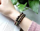 Black Onyx Rhodonite Bracelet, Memory Wire Beaded Bangle, Antiqued Brass, Boho Bohemian, Pink, Mauve, Bronze