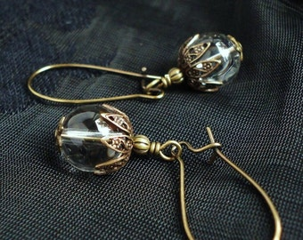 Grade AA Rock Crystal Earrings in Antiqued Brass, Kidney Earwires, Quartz Crystal, Clear Quartz, Gemstone, Healing Stone
