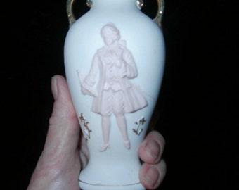 Vase Pink & White Gold  Porcelain Vintage GU Vase Japan