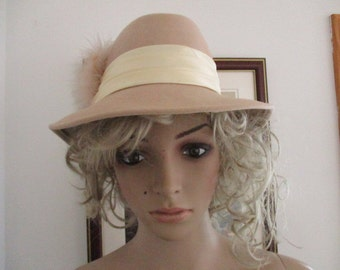 Womens Fedora Hat Tan 100% Wool Doeskin Fedora Hat by Geo W Bollman with Box Women's Vintage Hat