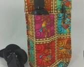 Massage Therapy Single bottle holster, LEFT hip, pen pocket, Kokopelli print, black belt