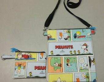 Peanuts comic purse, messenger/cross body bag  handmade