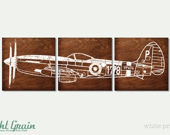 LARGE Custom Made Vintage Airplane on 3 Wood Panels - Boys Room Wall Art
