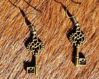 Steampunk/Victorian/Renfair filigree bronze colored key earrings