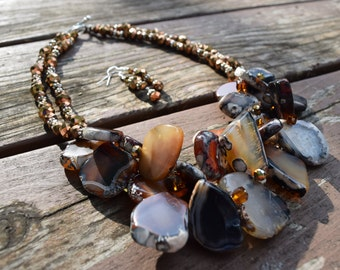 Black and Brown Chunky Agate with Copper Crystals Necklace and Earrings