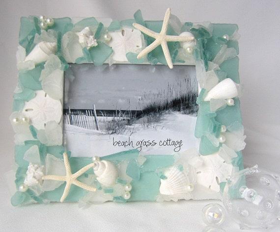 Beach Decor Sea Glass & Seashell Frame - Nautical Decor Shell Frame w Beach Glass, Starfish, Pearls, 5x7 Green - #SGF57