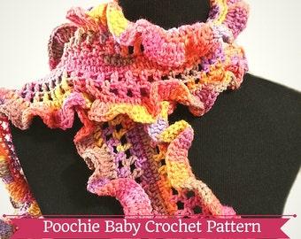 PATTERN - Crochet Frilly Ruffle Scarf for Girls/Women