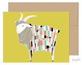 Technicolored Dream Goat Card, Goat Greeting Card, Just Because Card, Happy Mail, Encouragement Card, Baby Card, Blank Card