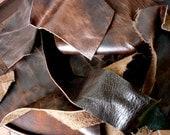 Dark Brown Leather Scraps 1 POUND Premium Cowhide and Bison Mix - Dark Brown Leather Remnants Destash