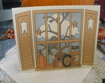 Primitive Country Pumpkin Fall Window Note Cards ~ N82