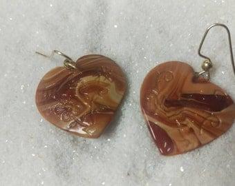 Brown Stone Hearts
