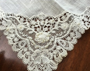 Antique Victorian Wedding Hankie Handkerchief Lace & Pearls