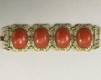 Vintage Chunky Huge Wide Cabochon Coral Stone Book Chain Link Bracelet 1950s