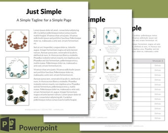 EASY Edit Linesheet or Wholesale Catalog Powerpoint template, 9 products - Just Simple design 4 page set
