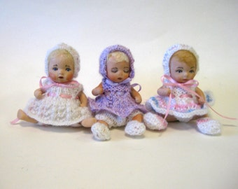 Handcrafted Porcelain Dolls Four Inches Long Made From Molds by Dianna Effner