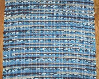 Handwoven Cotton Rag Rug - Blue, Brown, Tan Multi (Inv. ID# 03-1061)