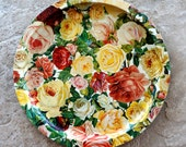 Vintage Serving Platter Floral Chintz Rose Metal Round Pink Yellow Peach