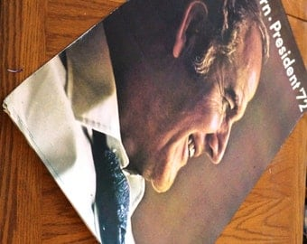 Vintage Campaign Poster McGovern President 1972 Large Oversized