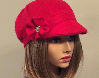 Emilie,  100% pure Cashmere Newsboy Hat...color red