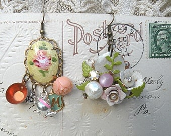 earrings enamel flower assemblage mismatch cottage chic guilloche style feminine romance recycle upcycle vintage jewelry teatime pastel