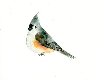 TITMOUSE Original watercolor painting 10x8inch