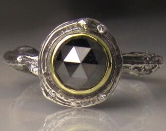 Black Rose Cut Diamond Twig Ring, Rose Cut Diamond Engagement Ring, Black Diamond Branch Ring