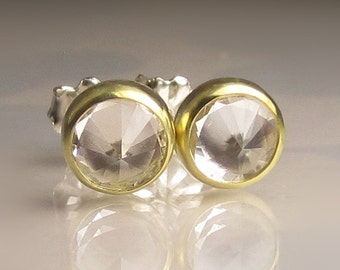 Herkimer Diamond Earrings, Faceted Herkimer Diamond Earrings, Sterling Silver and 18k Yellow Gold Herkimer Earrings
