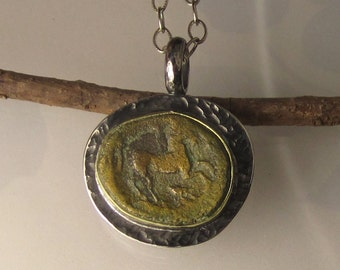 Ancient Greek Coin Pendant, Authentic Ancient Coin,  Ancient Horse Coin Necklace in 18K Yellow Gold and Sterling Silver, Apollo, Horserider