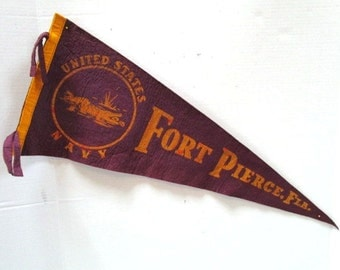 Large Vintage Pennant US Navy Fort Pierce Florida w/ alligator Souvenir Felt Flag Tourist Trap, Family Vacation, Purple Upcycle Craft Supply