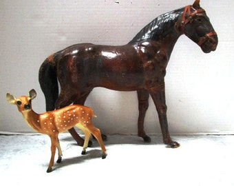 Vintage Handmade Real Leather Horse Model, Brown, Kentucky Derby, Edith Reynolds Style, Display, Equine, Reigns, Bridle, Taxidermy Type
