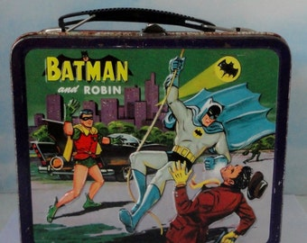 1960s BATMAN and ROBIN Lunch Box With Thermos.