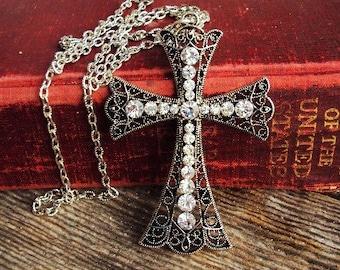 Vintage Style Cross Pendant Long Necklace Clear Glass Rhinestones Antique Silver Filigree Metal Ormolu Style Large Pendant