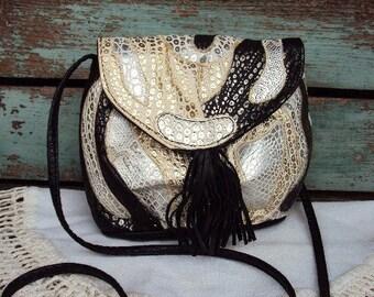 Vintage NAS Bag Purse Alentino Faux Frog Skin Alligator Leather Over the Shoulder Small Handbag Patchwork Print Black Tassel 1980s