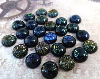 Pack of 10 Dichroic Glass Cabochons 10 mm Mix Pattern