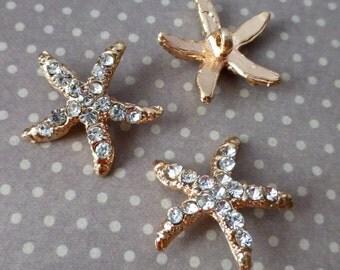 free uk postage Gold Rhinestone Shank Button Starfish Pack of 4