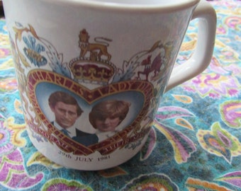 CHARLES and Lady DIANA Commemorate Their Marriage July 1981 Mug