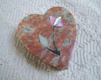 Vintage Jewelry Storage Heart Soapstone Ring Box