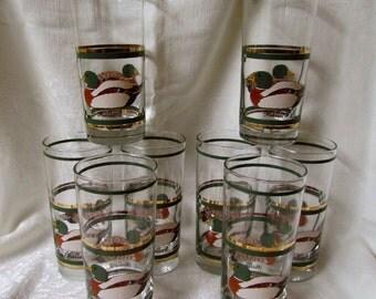 Set of 8 Vintage Libbey 1950's Mallard Duck Tall Glasses Gold Rims