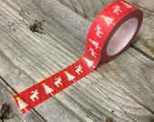 Washi Tape - 15mm - White Christmas Trees & Moose on Red - Deco Paper Tape No. 1173