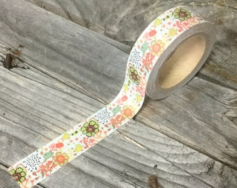 Washi Tape - 15mm - Floral and Birds Design - Deco Paper Tape No. 1056
