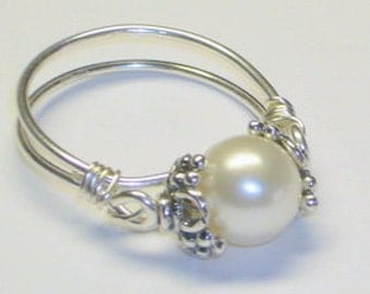 Pearl Ring, Sterling Silver, Purity Ring, Sweet Sixteen Gift
