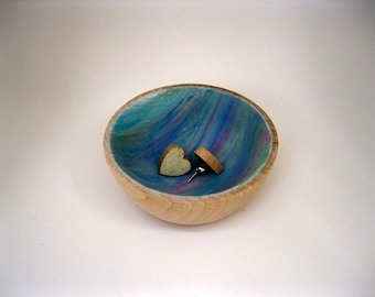 Cotton Candy Collection Painted Wood bowl Jewelry dish Ring cup mini jewelry bowl holder