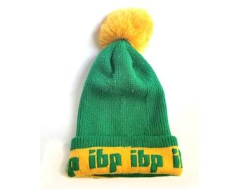 Vintage Winter Hat with Pom Pom ibp Green Yellow boston celtics colors Ski Cap 80s