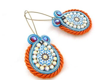 blue orange dangle earrings , soutache embroidered jewelry , crystal earrings ,  tile inspiration jewelry , turquoise earrings , - Celine -