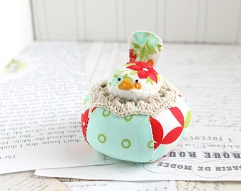 Red and Aqua Cute Bird Pincushion Cotton Pin Cushion Colorful Bird Pin Keep